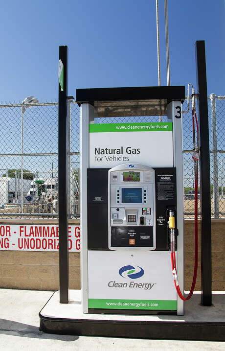 San Antonio's first public compressed natural gas refueling station was ready to go Wednesday at a Flying J truck stop. Texas has 44 such stations. Photo: Alma E. Hernandez, For The San Antonio Express News
