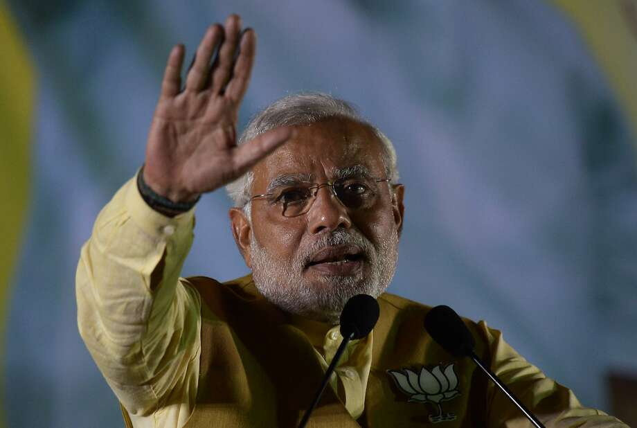 Narendra Modi, the incoming prime minister, speaks in Kolkata, India. Modi has vowed to clean up the filthy Ganges. Photo: Dibyangshu Sarkar, AFP/Getty Images