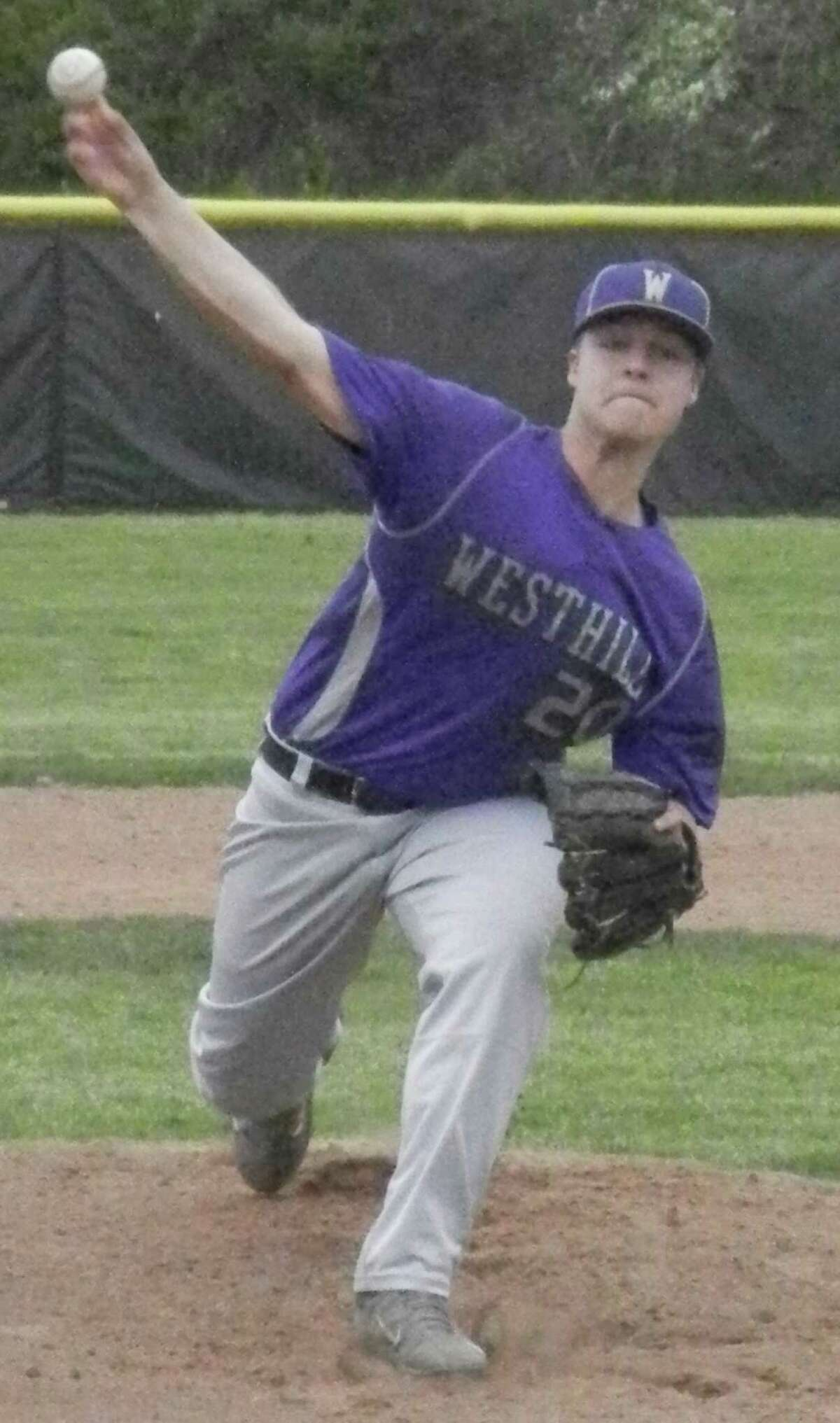 Westhill junior starting pitcher Billy Blau lets go of a pitch in the first inning on Wednesday, May 14 in an FCIAC baseball game against Ludlowe at Kiwanis Field in Fairfield. Blau pitched into the fifth inning as the Falcons erased a 2-0 deficit to beat the Vikings 4-3.