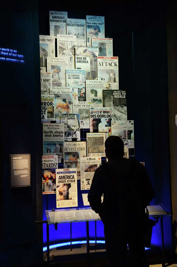A display of front pages of newspapers, seen during a press preview of the National September 11 Memorial Museum at the World Trade Center site May 14, 2014 in New York. Photo: STAN HONDA, AFP/Getty Images / AFP