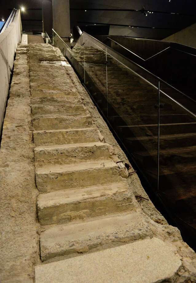 "The ""Survior Stairs"", remnants of a Vesey Street staircase where many people who worked at the World Trade Center towers during the September 11, 2001 attack escaped to the street, seen during a press preview of the National September 11 Memorial Museum at the World Trade Center site May 14, 2014 in New York. Photo: STAN HONDA, AFP/Getty Images / AFP"