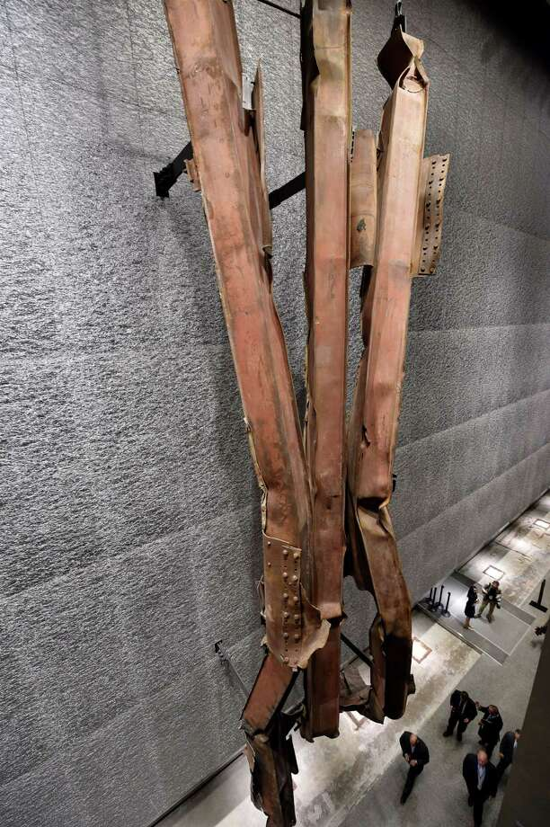 A section of steel facade from the North Tower, floors 96 to 99, seen during a press preview of the National September 11 Memorial Museum at the World Trade Center site May 14, 2014 in New York. Photo: STAN HONDA, AFP/Getty Images / AFP