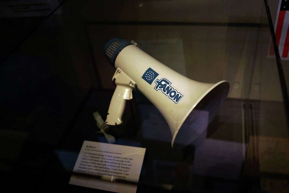 The bullhorn President George W. Bush used to speak to first responders and the public at Ground Zero on September 14 is viewed during a tour the National September 11 Memorial Museum on May 14, 2014 in New York City. Photo: Spencer Platt, Getty Images / 2014 Getty Images