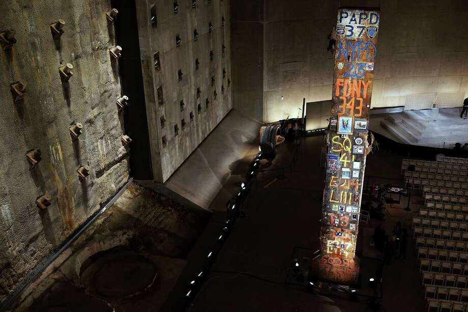 A decorated pillar from Ground Zero and the Slurry Wall are viewed during a tour of the National September 11 Memorial Museum on May 14, 2014 in New York City. Photo: Spencer Platt, Getty Images / 2014 Getty Images