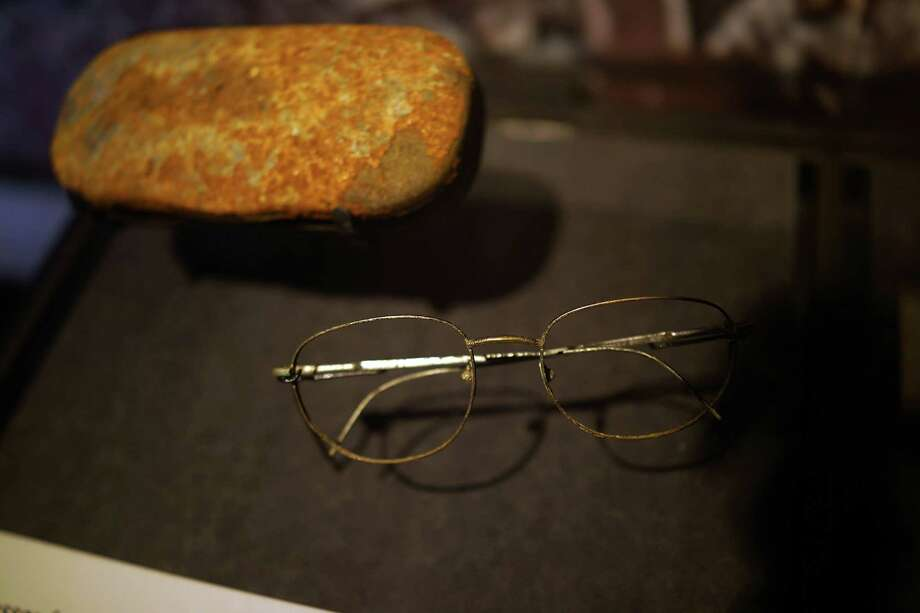 A pair of eye glasses recovered from Ground Zero are viewed during a preview of the National September 11 Memorial Museum on May 14, 2014 in New York City. Photo: Spencer Platt, Getty Images / 2014 Getty Images