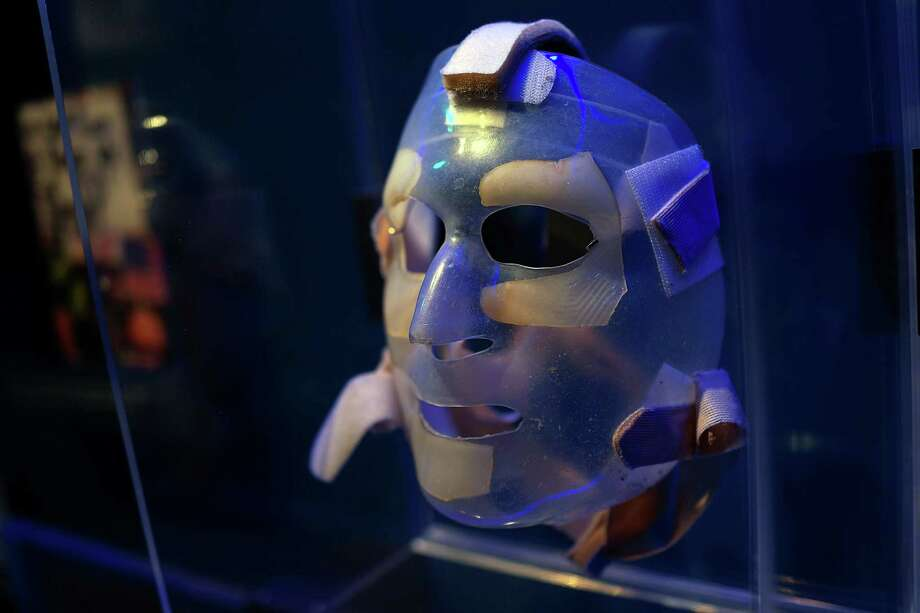 A recovery mask used by a burn victim from the attacks on September 11 is viewed during a tour of the National September 11 Memorial Museum on May 14, 2014 in New York City. Photo: Spencer Platt, Getty Images / 2014 Getty Images