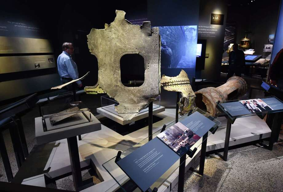 Pieces of the plane of Flight 11 seen during a press preview of the National September 11 Memorial Museum at the World Trade Center site May 14, 2014 in New York. Photo: STAN HONDA, AFP/Getty Images / AFP