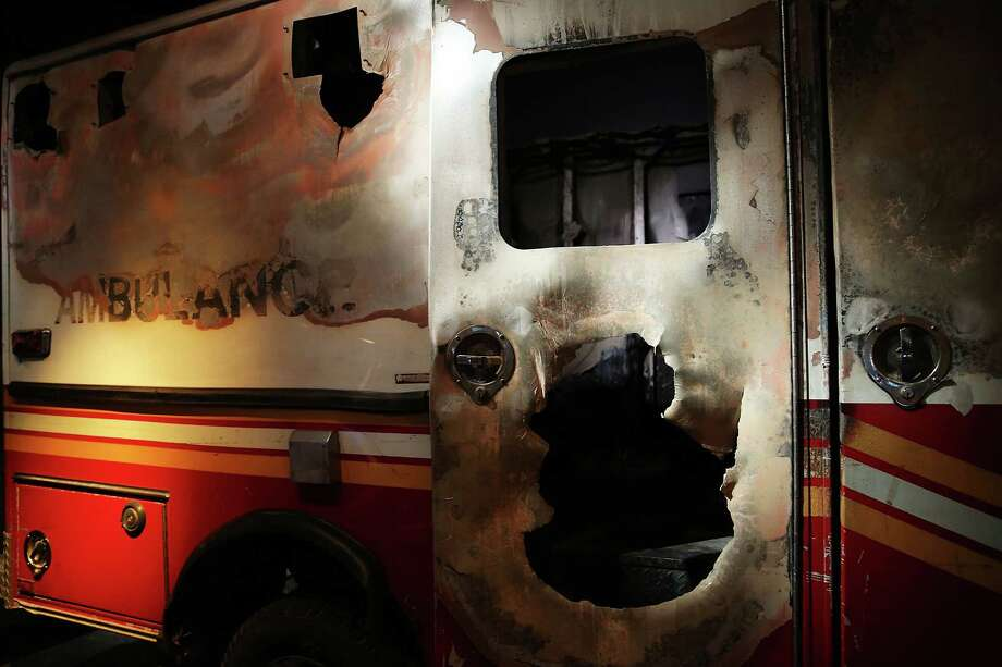 A destroyed fire department ambulance from Ground Zero is viewed during a preview of the National September 11 Memorial Museum on May 14, 2014 in New York City. Photo: Spencer Platt, Getty Images / 2014 Getty Images