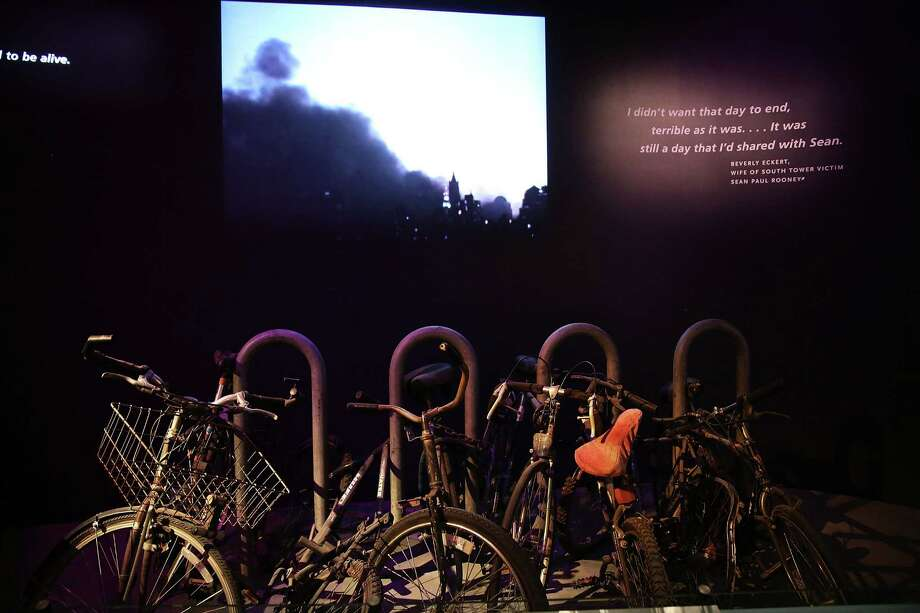 A salvaged bicycle rack from Ground Zero is viewed during a preview of the National September 11 Memorial Museum on May 14, 2014 in New York City. Photo: Spencer Platt, Getty Images / 2014 Getty Images