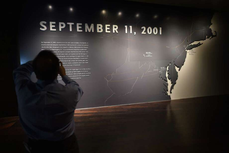 An opening panel showing a timeline of events seen during a press preview of the National September 11 Memorial Museum at the World Trade Center site May 14, 2014 in New York. Photo: STAN HONDA, AFP/Getty Images / AFP