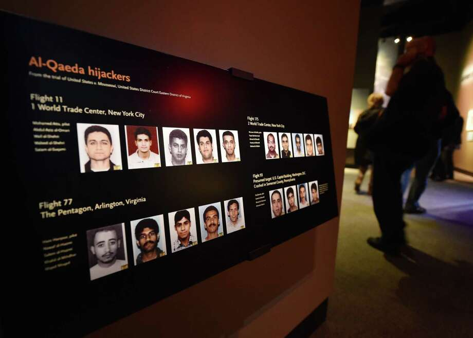 A display showing the Al-Qaeda hijackers, is seen during a press preview of the National September 11 Memorial Museum at the World Trade Center site May 14, 2014 in New York. Photo: STAN HONDA, AFP/Getty Images / AFP