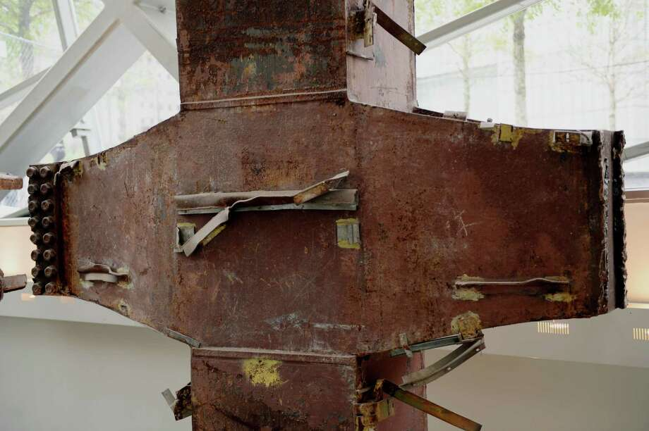 "A detail of a World Trade Center ""trident"", a steel column that formed part of the building's structural support, seen during a press preview in the National September 11 Memorial Museum at the World Trade Center site May 14, 2014 in New York. Photo: STAN HONDA, AFP/Getty Images / AFP"