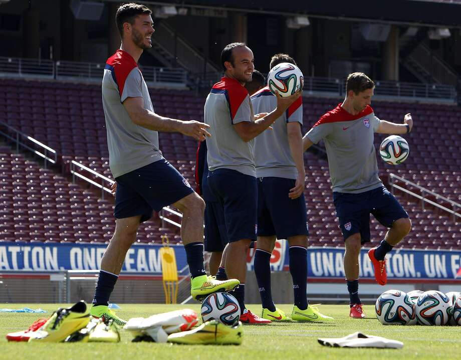 Members of the US Men's National Soccer team loosen up on the field at Stanford Stadium on Wednesday. The team was introduced during an exhibition practice at Stanford University in Stanford, Calif., on Wednesday, May 14, 2014. Photo: Carlos Avila Gonzalez, The Chronicle