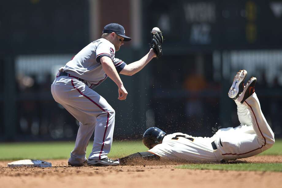 The Giants' Gregor Blanco steals second base ahead of the tag from Atlanta's Tyler Pastornicky in the second inning. Photo: Jason O. Watson, Getty Images
