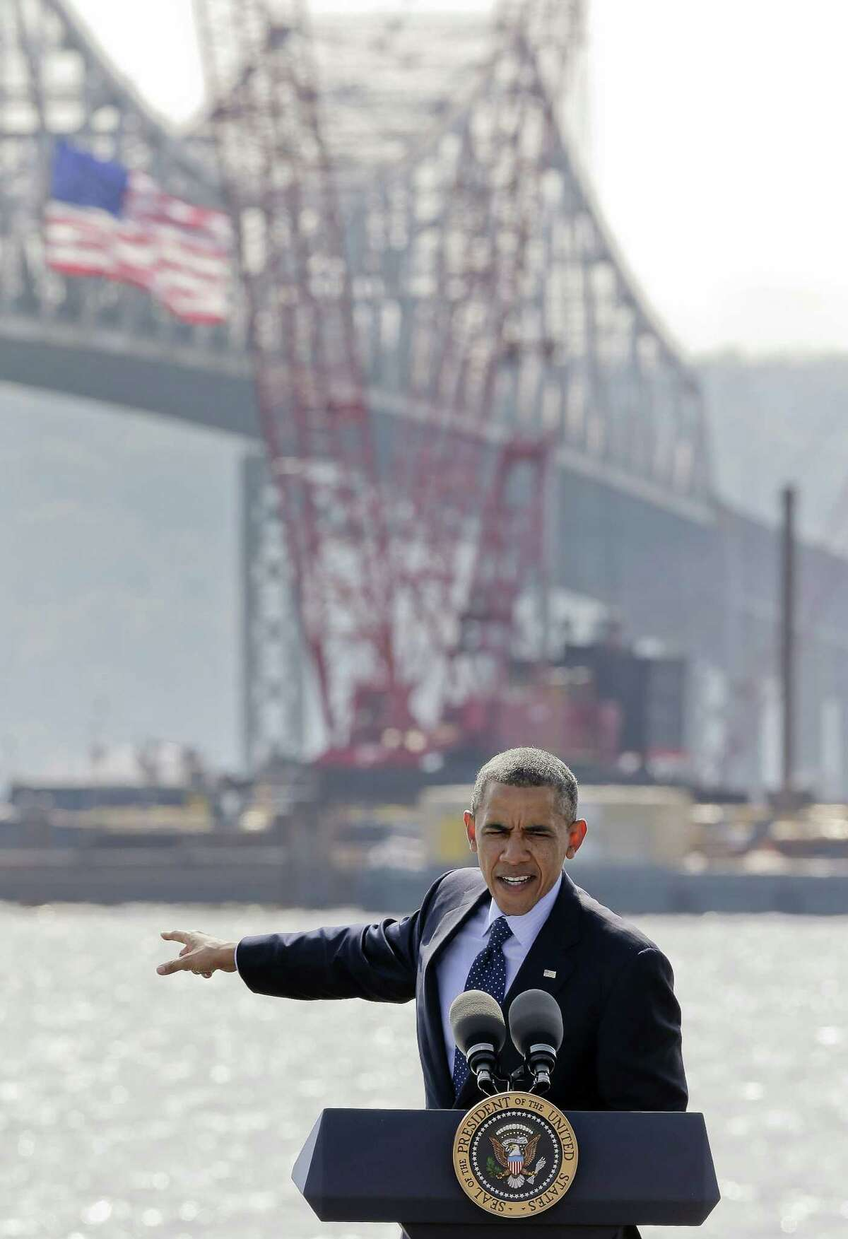 President Barack Obama speaks near the base of the Tappan Zee Bridge, a 4.9-mile span north of New York that's being replaced in a $3.9 billion federal-state project.