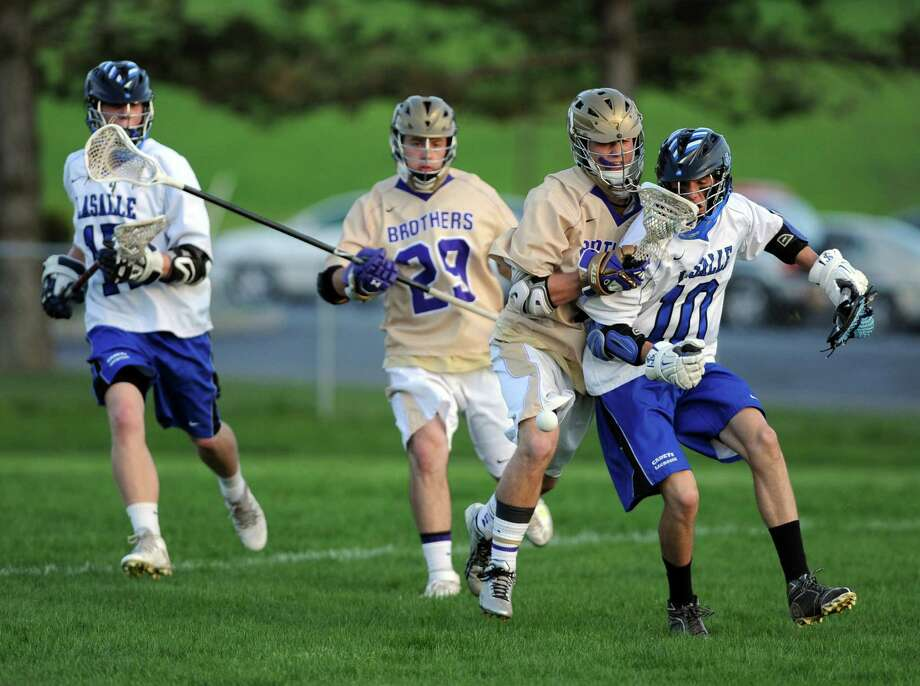 CBA and La Salle battle during their high school boys lacrosse game on Wednesday May 14, 2014 in Troy, N.Y. (Michael P. Farrell/Times Union) Photo: Michael P. Farrell / 00026858A