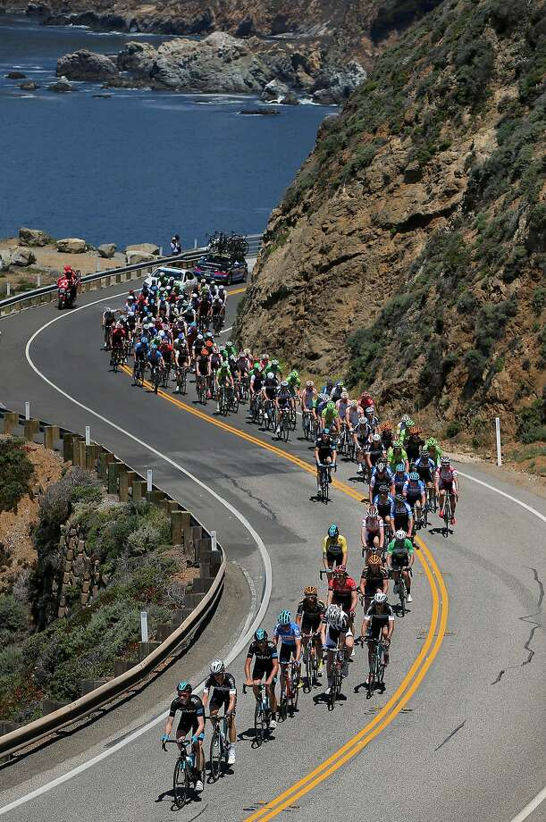 The Tour of California peloton goes south along the ocean in Monterey County. Photo: Doug Pensinger, Getty Images