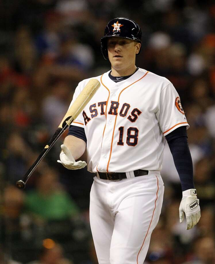Astros first baseman Marc Krauss strikes out during the fourth inning. Photo: Karen Warren, Houston Chronicle