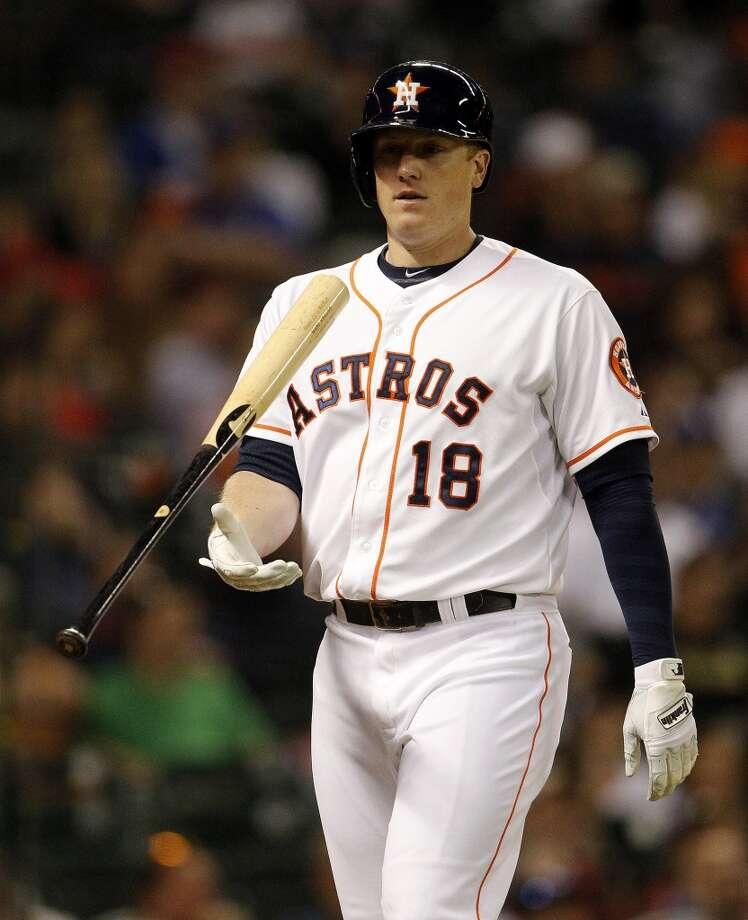 Astros first baseman Marc Krauss strikes out during the fourth inning. Photo: Karen Warren, Houston Chronicle