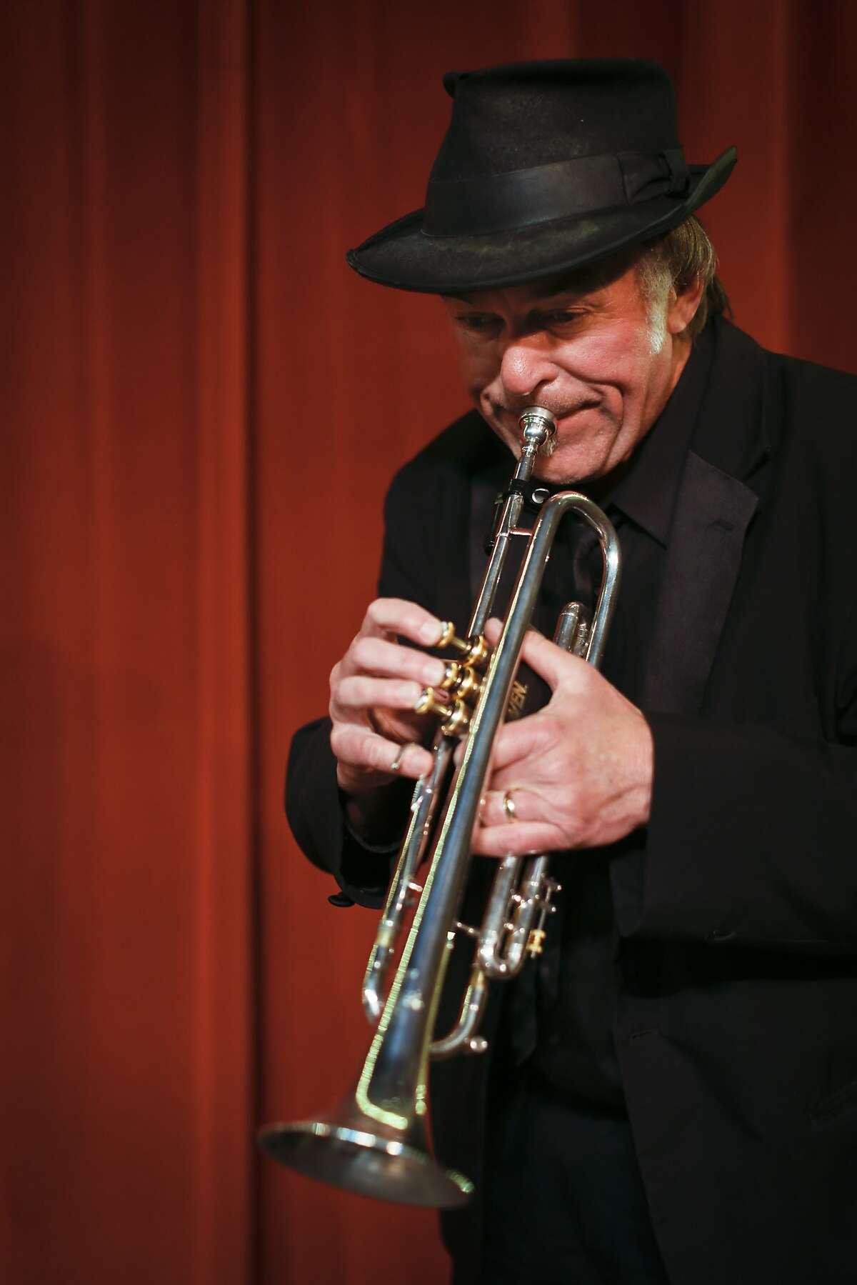 Beach Blanket Babylon trumpet player Steve Salgo is seen in Club Fugazi on Friday, April 11, 2014 in San Francisco, Calif.