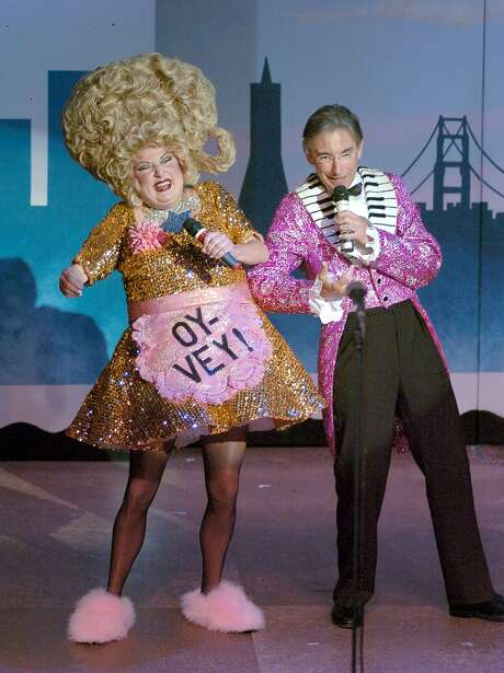 """A highlight for many """"Beach Blanket Babylon"""" fans through the year was Val Diamond singing ... anything. Photo: David Allen"""