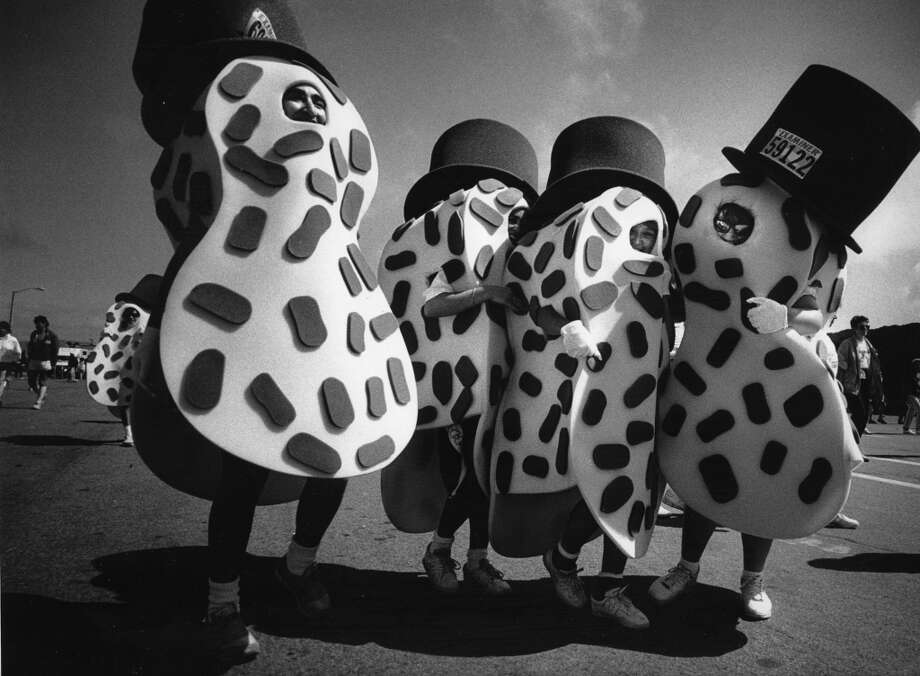 Four peanut people ran Bay to Breakers together and finished together, May 21, 1989. Photo: Tom Levy