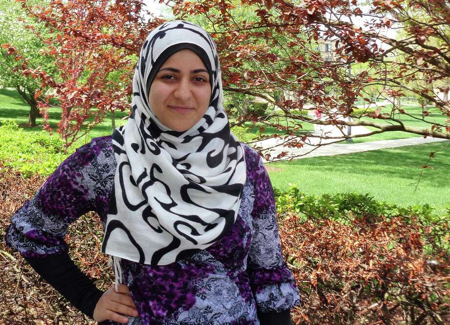 Bayan Abunar of Fairfield, who will be among the graduates at Fairfield University's commencement Sunday, is notable for a number of achievements during her academic career at the Jesuit school, including leadership of the Muslim Student Association and the Women in Science, Technology, Engineering and Mathematics initiative. Photo: Meg Barone / Fairfield Citizen