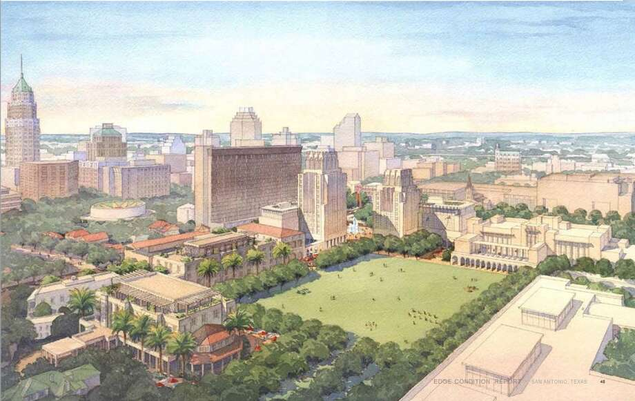 This conceptual drawing of HemisFair Park shows the civic park portion on Market and Alamo streets. This is not the final design, according to Hemisfair. Click here to download the full report (16MB). Photo: Hemisfair, Courtesy