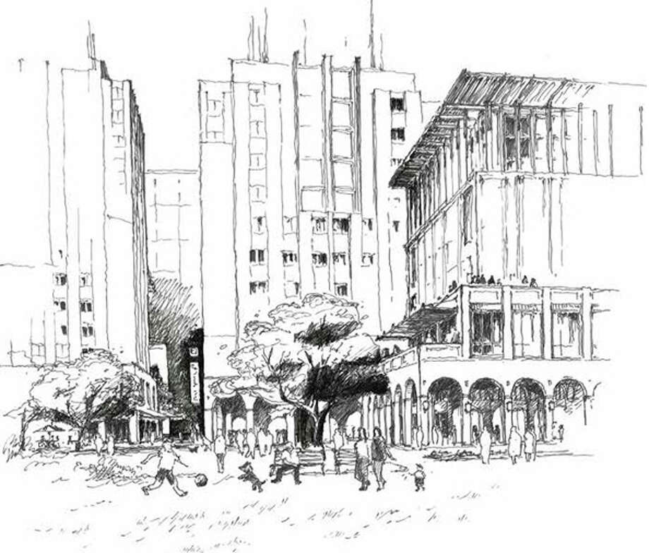 This conceptual drawing of HemisFair Park shows buildings on the edge facing Alamo Street. This rendering does not express the final design, according to Hemisfair. Click here to download the full report (16MB). Photo: Hemisfair, Courtesy