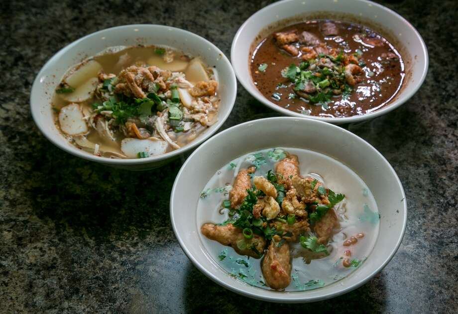 Clockwise from bottom; Fried Fish Ball noodles; Sweet-Sour Chicken noodles soup; and Thai Boat Noodles at Ran Kanom Thai Noodle in San Pablo. Photo: John Storey, Special To The Chronicle