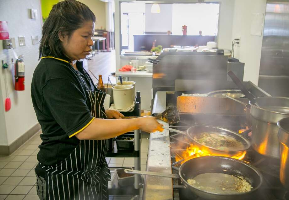 Chef Salalinee Ekchit cooks at Ran Kanom Thai Noodle in San Pablo. Photo: John Storey, Special To The Chronicle