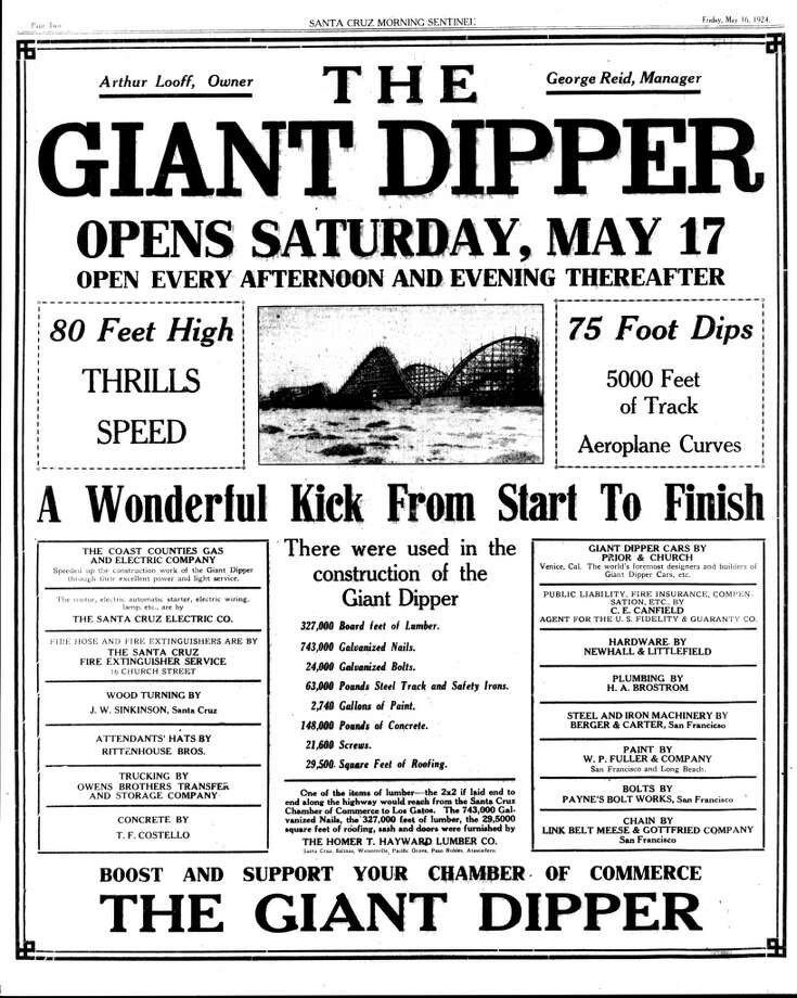 An advertisment for the opening of the Giant Dipper in 1924. (Photo courtesy of Santa Cruz Beach Boardwalk Archives)