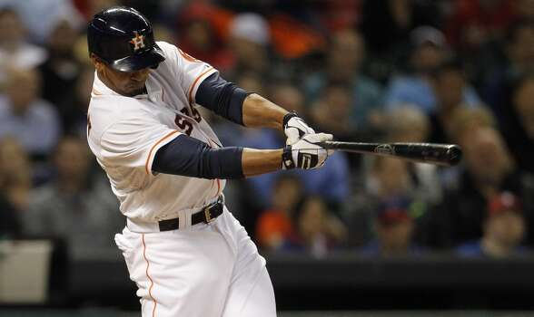 May 14: Astros 5, Rangers 4  George Springer ties it with his third home run of the season, and  Matt Dominguez ends it with a walkoff RBI single in the ninth inning.  Record: 14-27. Photo: Karen Warren, Houston Chronicle