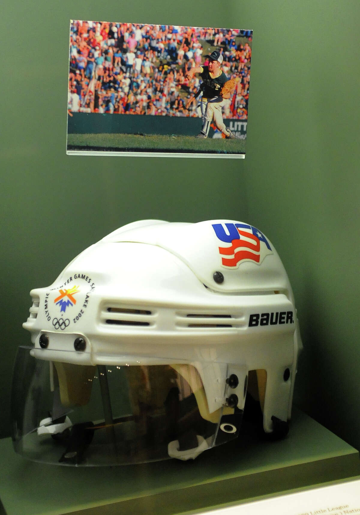 Chris Drury's spot featuring his NHL helmet as part of the Hall of Excellence in the Little League World Series Museum in Williamsport, Pa. on Thursday August 22, 2013. Drury was a pitcher with Trumbull that won the series in 1989.