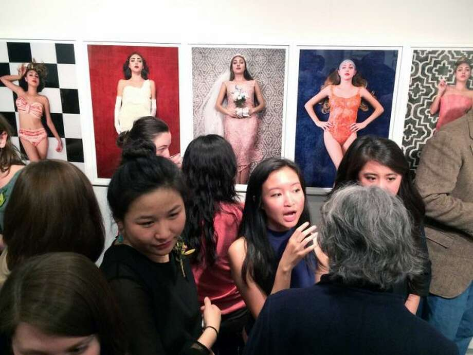 A large turnout attends the reception for the Senior Thesis Exhibition at the Tang Museum on Friday, May 9. Artist on display: Juliana Lopez (exhibition honor recipient).