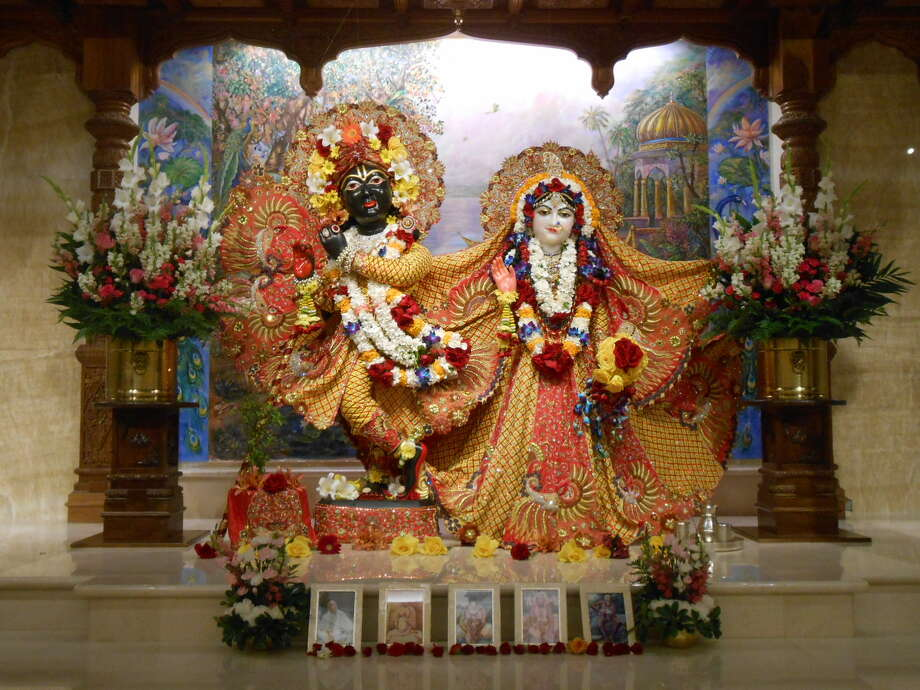 Hindu Gods on the altar at ehe Hare Krishna Temple & Cultural Center, 2014 in Houston. Photo: Hare Krishna Temple & Cultural C