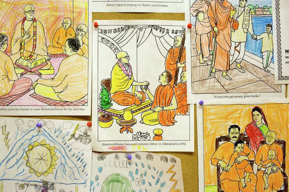 Completed children's coloring book pages at the Hare Krishna Temple & Cultural Center, May 13, 2014 in Houston. Photo: Eric Kayne, For The Chronicle / Eric Kayne