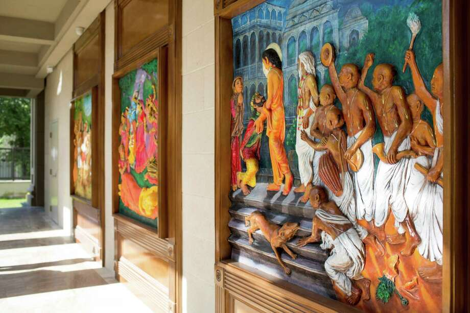 Religious panels at the Hare Krishna Temple & Cultural Center, May 13, 2014 in Houston. Photo: Eric Kayne, For The Chronicle / Eric Kayne