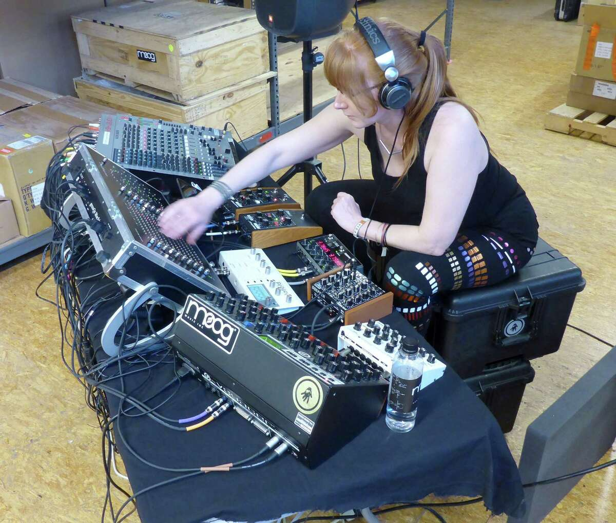 Popular synthesizer artist and composer Erika Sherman entertained guests at a Moog Factory reception during Moogfest 2014.