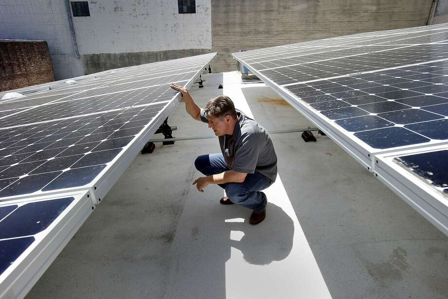 "Ted van der Linden is director of sustainability for DPR Construction, which recently outfitted a building  in San Francisco with an array of technology that could make theirs the city's first ""zero net energy"" office. Photo: Brant Ward, The Chronicle"