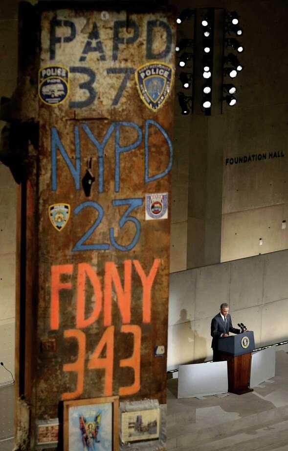 President Barack Obama speaks at the dedication ceremony for the National September 11 Memorial Museum on Thursday, May 15, 2014 in New York. Photo: JOHN ANGELILLO, Associated Press / POOL UPI