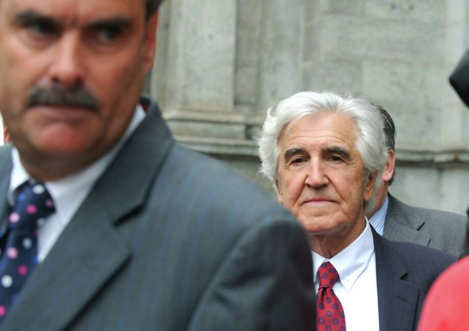 Former State Senate Majority Leader Joseph Bruno exits the James T. Foley U.S. Courthouse following closing arguments in his corruption trial Wednesday, May 15, 2014, in Albany, N.Y. (Michael P. Farrell/Times Union) Photo: Michael P. Farrell / 00026783K