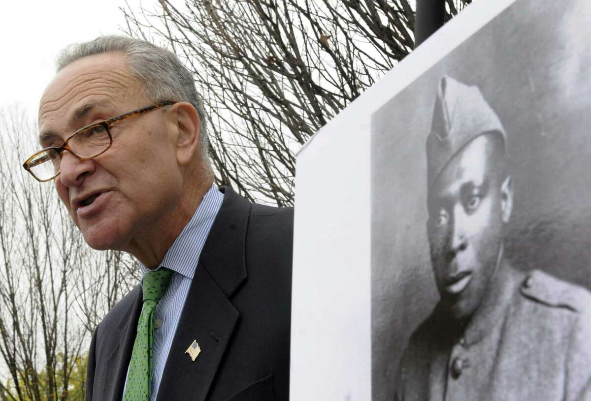 Sen. Chuck Schumer talks about new efforts to get the Medal of Honor for Henry Johnson in Albany, NY Wednesday Oct. 24, 2012. (Michael P. Farrell/Times Union)