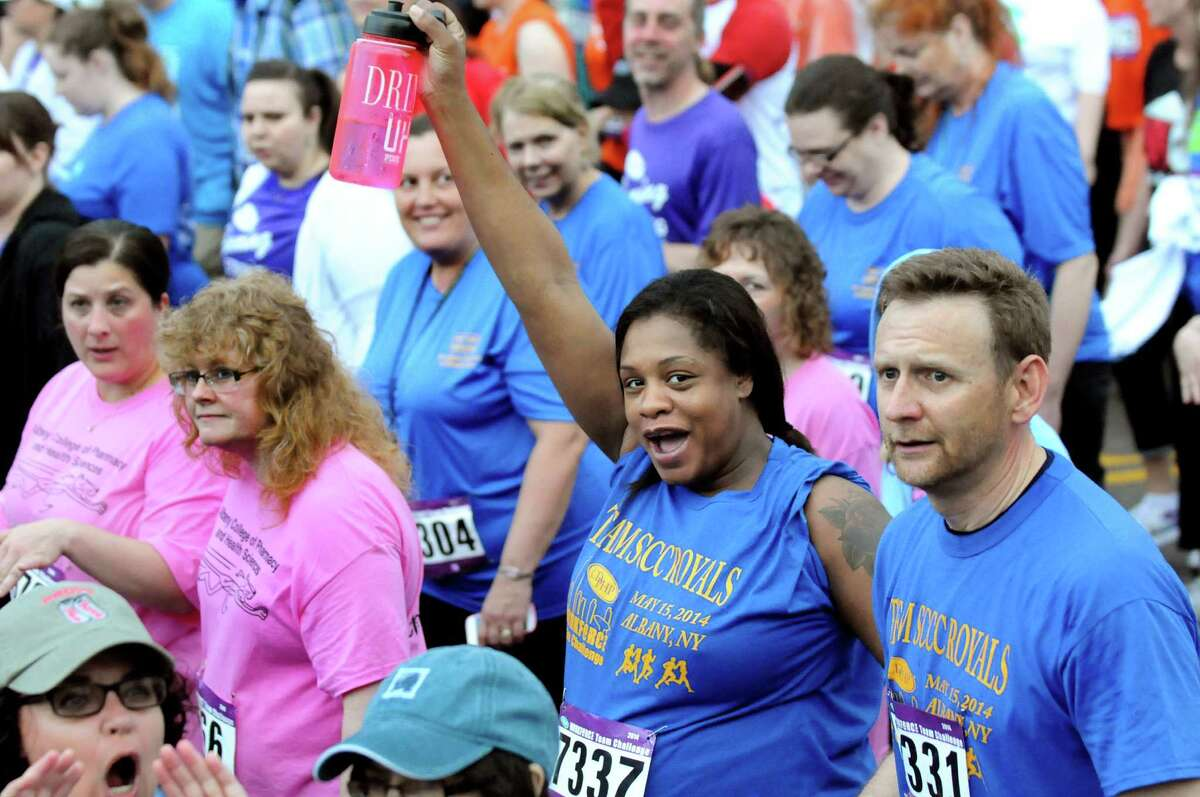 Participants cheer when their team is announced at the start of the CDPHP Workforce Team Challenge on Thursday, May 15, 2014, in Albany, N.Y. (Cindy Schultz / Times Union)