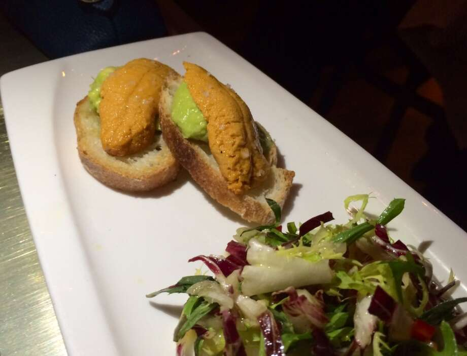 Bar Crudo: Avocado and uni toast ($14)