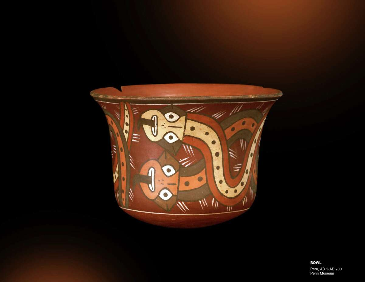 """A Peruvian bowl, dated as far back as 700 AD, from the """"Indiana Jones and the Adventure of Archaeology"""" exhibit at the Forth Worth Museum of Science and History."""