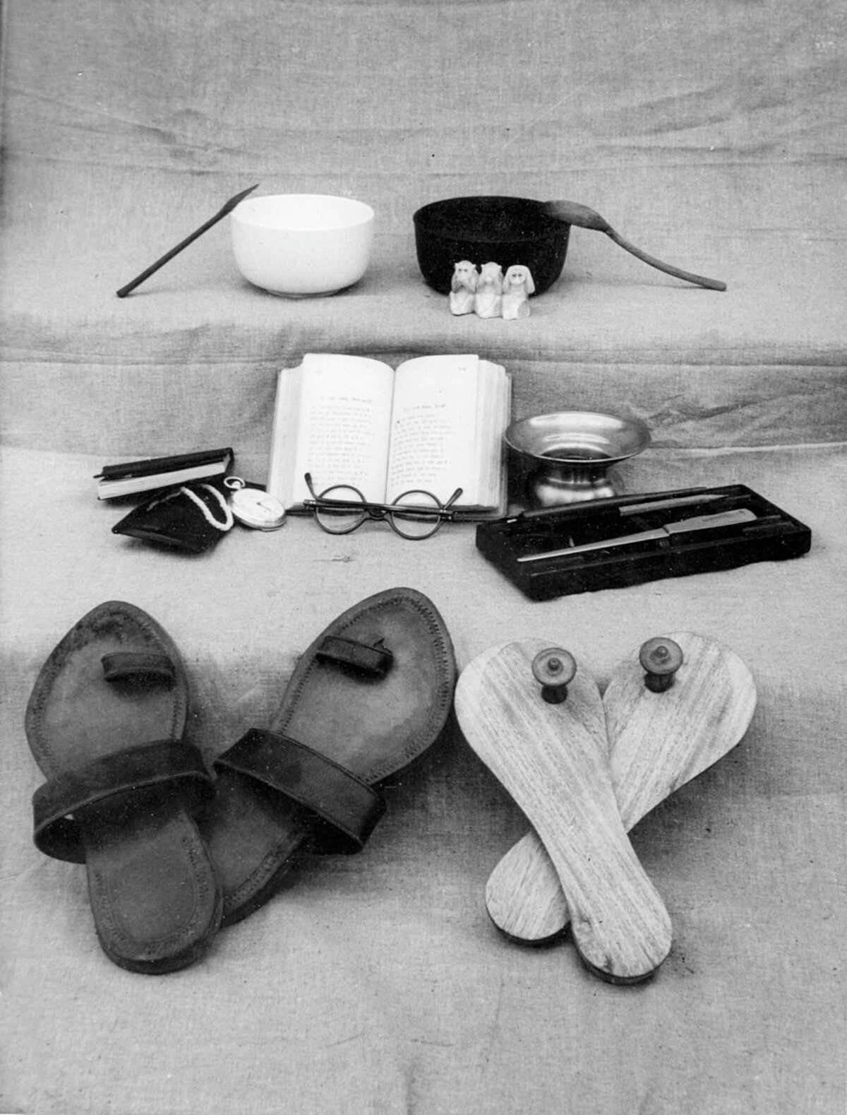 """This 1948 image of Ghandi's last possessions by an unknown photographer has intrigued Menil Collection director Josef Helfenstein for years. It inspired the exhibition """"Experiments with Truth: Gandhi and Images of Nonviolence,"""" which opens Oct. 2 at the Menil Collection."""