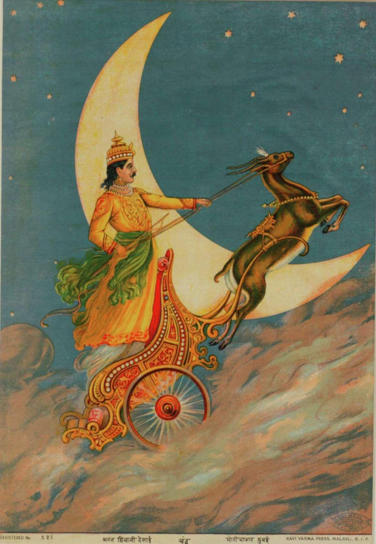 "On view in ""Transcendent Deities of India"" at Asia Society Texas Center through Sept. 14: Chandra, c. 1925; Paper, ink; Ravi Varma Press, Malavli, G.I.P.; Courtesy of the Ramchander Nath Foundation, New Delhi."