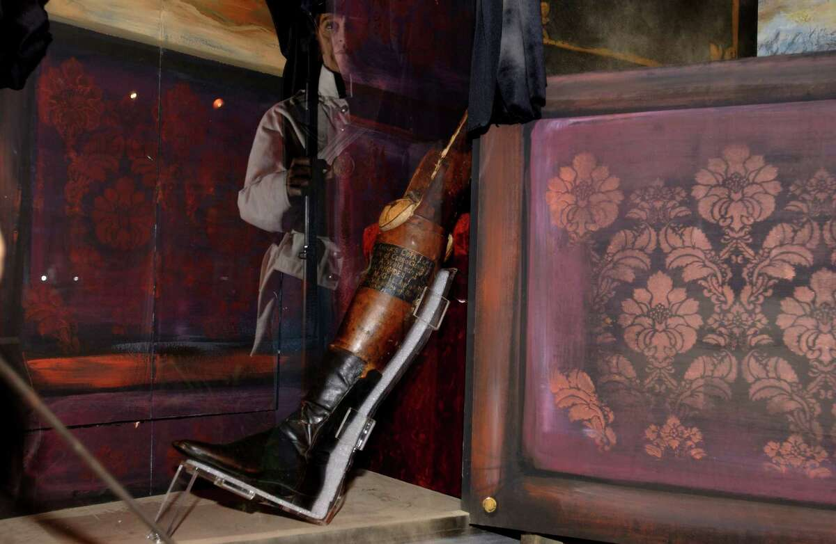 The Illinois State Military Museum in Springfield, Ill., displays the artificial leg owned by Mexican Gen. Antonio Lopez de Santa Anna who led the 1836 assault on the Alamo. The San Jacinto Battle Monument and Museum has launched a petition on the White House website, hoping to get 100,000 signatures to bring the artifact to Texas.