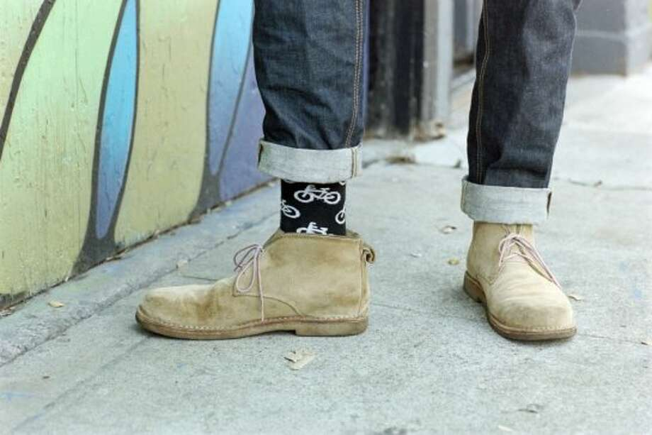Walker pairs his Hiut jeans with Goodhew socks and gifted boots. Photo: William C Rittenhouse